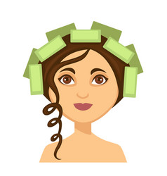 Young woman with hair rollers and one curly lock vector