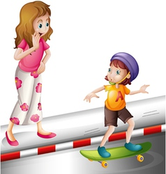 a woman and a boy vector image vector image