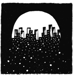 Hand-drawn night city vector image vector image