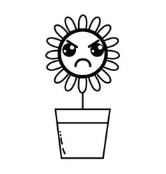 Line kawaii beauty and angry flower plant vector