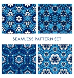 set of blue winter seamless pattern vector image