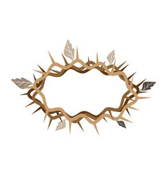 A Crown of Thorns with Dried Leaves vector image