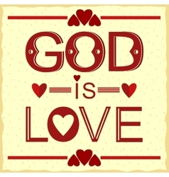 Bible verse God is love in red vector image vector image