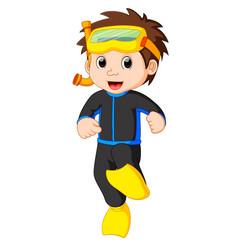 diver boy cartoon vector image