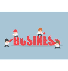Group of business people assembling jigsaw puzzle vector image vector image
