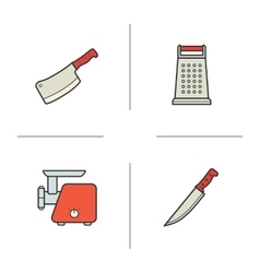 Kitchen equipment color icons set vector image