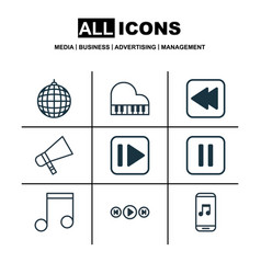Set of 9 audio icons includes octave audio vector
