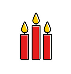 three burning candles christmas decoration vector image