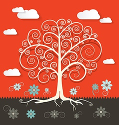 Abstract Retro Flat Design Tree with Clouds and vector image