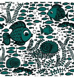 Blue hand drawn fishes vector image vector image