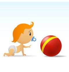cartoon cute baby crawling to red ball vector image vector image