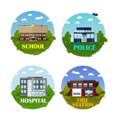 City buildings icon set in flat style vector