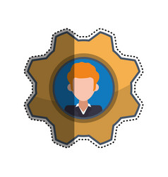 gear frame male faceless picture vector image vector image
