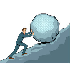 businessman pushing rock uphill pop art vector image