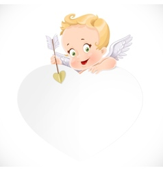 Cute cupid with a big white valentine card vector image vector image