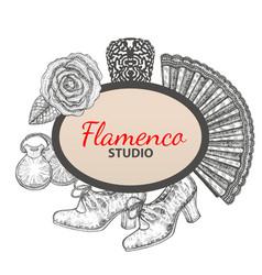 hand drawn flamenco template vector image