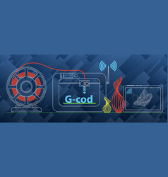 set about 3d printing printer vector image
