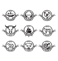 set icons meat vector image vector image