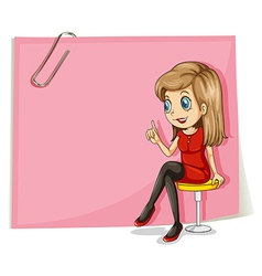 A pretty lady in front of the empty pink signage vector image