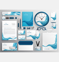 Abstract blue wave modern business stationery vector