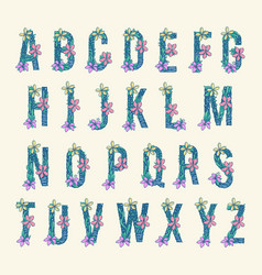 Alphabet collection tropical flowers vector