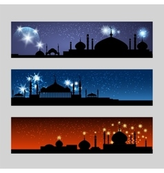 Arabic banners set with mosque vector image vector image