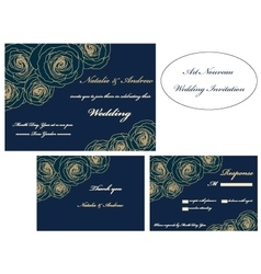 Art Nouveau wedding invitation set vector image