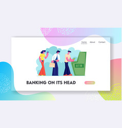 atm transaction services banking website landing vector image