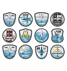 aviation and airplanes icons vector image