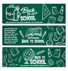 back to school chalkboard banner with student item vector image