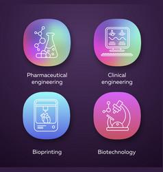 bioengineering app icons set medical technologies vector image