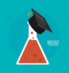 biology test tube graduation cap icon vector image