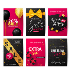 black friday set sale banners with balloons vector image