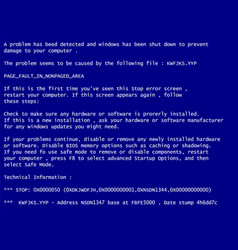 blue screen of death system crash report vector image
