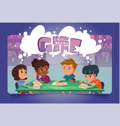 Brain storm game cartoon landing page boardgame vector