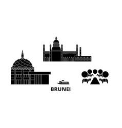 Brunei flat travel skyline set black city vector