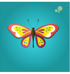 Butterfly with colorful wings and antennae vector