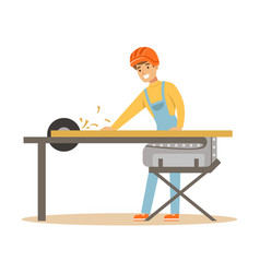 Carpenter man cutting a wooden plank by circular vector