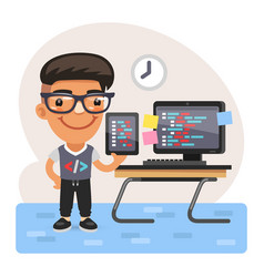 cartoon coder young man vector image