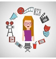 Cartoon girl cinema movie icons vector
