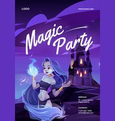 Cartoon magic party poster vector