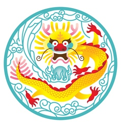 Chinese Dragon in circle vector