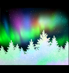 Christmas background with northern lights vector