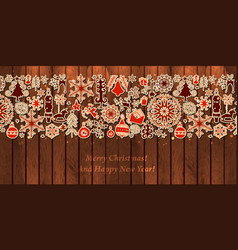 christmas card with vintage paper icon on wood vector image