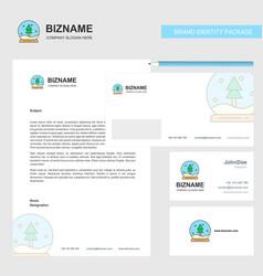 christmas globe business letterhead envelope and vector image
