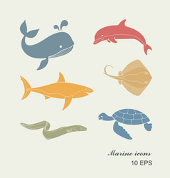 collection of icons of sea inhabitants in flat vector image