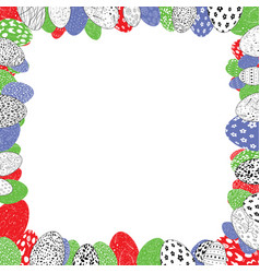 colorful easter eggs frame vector image