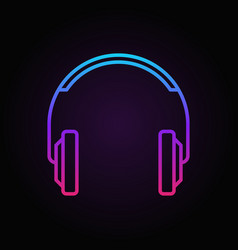 Colorful headphones line icon or logo vector