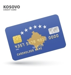 Credit card with Kosovo flag background for bank vector