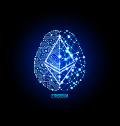 crypto currency ethereum on brain background vector image